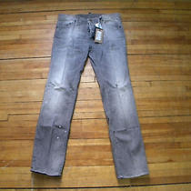 Dsquared Runway Painted Wrinkled Wash Grey Jeans S 50 Photo