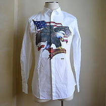 Dsquared Super Rare American Eagle Front Pleated Print Casual Dress Shirt 54 44 Photo