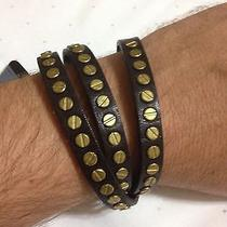 Dsquared Triple Tour Brown Studded Leather Bracelet Photo