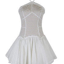 Dsquared  White Halter Top Pleated Perforated Corset Style Sundress Us S Eu 40 Photo