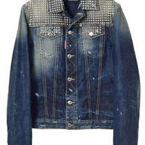 Dsquared2 Crash Processing Studded Denim Jacket 48 Blue Dsquared Used Photo