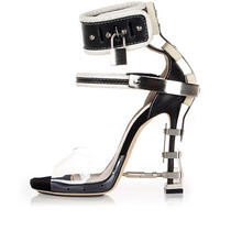 Dsquared2 Dsquared Women Black Leather High Heels Metal Applications Italy Made Photo