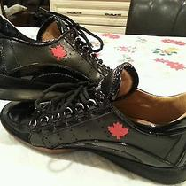 Dsquared2 Leather Black Low Top Sneakers Trainers 44.5 11.5 Authentic.  Photo