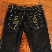 Dsquared2 Lightning Bolt Jeans Vintage 90s Gild Coated Black Denim 30x31 Size 46 Photo