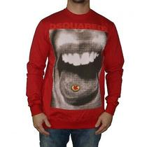 Dsquared2 Long Sleeve Crew Neck Sweater Shirt Red With Logo Size Xl Photo
