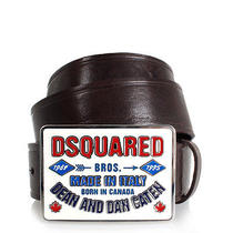 Dsquared2 Men Brown Leather Belt Buckle With Logo Made in Italy New With Tag Photo