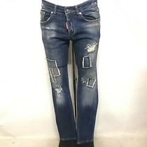 Dsquared2 Mens Cartier Ripped Jeans W34 L33 Blue Fade Slim Leg Distressed 420062 Photo