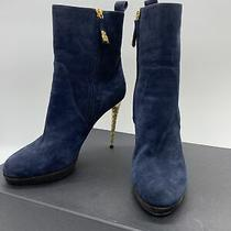 Dsquared2 Navy & Brown Suede W/gold Tone Heel Ankle Boots W/box Size 40 Photo