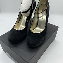 Dsquared2 Suede Gold Tone Heel Pump Size 40 Navy & Brown Ankle Strap Photo