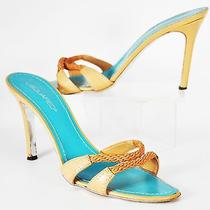 Dsquared2 Tan and Turquoise Leather Slingback Heels Size Us 8.5 Eu 41 Uk 7.5 Photo
