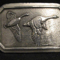 Ducks Geese in Flight 1976 Brass Belt Buckle Great American Buckle Co. Chicago Photo