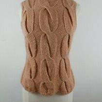 Due Per Due Womens Knit Mohair Blend Blush Pink Roll Collar Tank Top Sweater M Photo