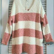 Dusty Coral Color Block Textured Sweater Top Xl W/ Anthropologie Earring Photo