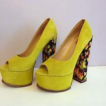 Dv 8 Dolce Vita  Neon Yellow Suede Platform Pumps High Heel Shoes Open Toe 8.5  Photo