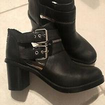 Dv by Dolce Vita Black Ankle Booties Double Front & Back  Zip Size 7.5  Leather Photo
