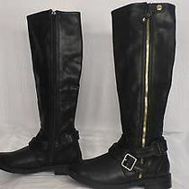 Dv by Dolce Vita 'Clarity' Black Faux Leather Tall Moto Boot Women Size 6.5 M Photo