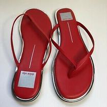 Dv by Dolce Vita Dawn Thong Sandals Flip Flops Red Stella Silver Trim Sz 8 New Photo