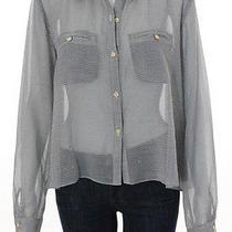 Dv Dolce  Vita Black White Sheer Checkered Long Sleeve Button Down Shirt Sz L Photo