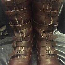 Dv Dolce Vita Womens Size 10 Boots Moto Brown Leather Buckle 6 Straps Sheepskin Photo