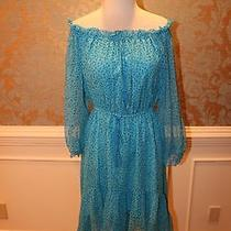 Dvf Camilla Two Chiffon Turquoise Leopard Off the Shoulder Dress Size 6 M  Photo