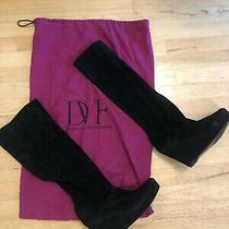 Dvf Diane Von Furstenberg Black Suede Platform Wedge Booties Size 9.5 W Dust Bag Photo