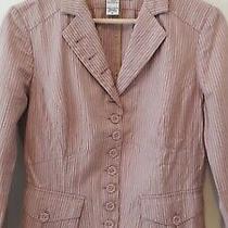 Dvf Diane Von Furstenberg Jacket Blazer Dusty Pink Dark Beige Cotton Size 8  Photo