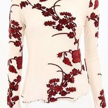 Dvf Diane Von Furstenberg Pink & Red Velour Floral Long Sleeve Top Photo