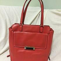 Dvf Highline Leather Tote Coral Red/orange Photo
