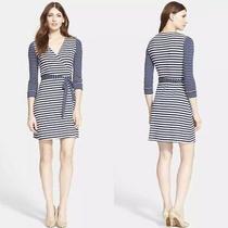 Dvf New Julian Two Stripe Wrap Dress Blue White Size 6 Photo