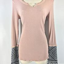 Dylan by True Grit Pale Pink Blush Thermal Shirt Sweater Cuffs Womens Sz Small Photo