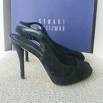 260 Stuart Weitzman  Peeksling Slingbacks Suede Heels 36.5 It  6.5 Us Photo