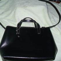 E Vintage Fossil Classic Black Leather Shoulder Bag Photo