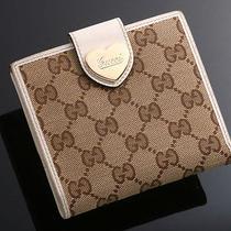 E0794 Authentic Gucci Ssima Cloth & Leather Wallet Photo