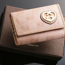 E1178 Authentic Gucci Ssima Cloth & Leather Key Case (Junk) Photo