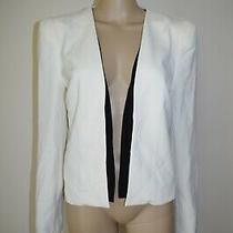 120 Guess Sz L Womens Open Front Blazer Jacket Business Formal Job Ivory New Photo