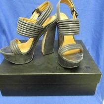 E1214 l.a.m.b. Gray Soft Leather Buckle Open Toe High Heel Shoes Women's 8m Photo