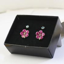 E123 Avon Cute Pink Flower & Blue Rhinestone 2 Stud Earrings Set New in Box Photo