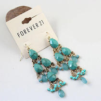 E141 Forever 21 Green Bead Dangle Earrings New on Card Photo