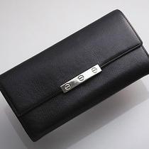 E1638 Authentic Cartier Genuine Leather Black Long Wallet Junk Photo