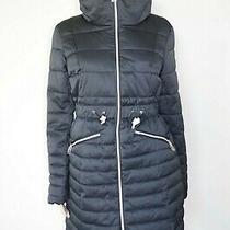 190 Guess Sz M Womens Coat Jacket Puffa Winter Puffer Parka Zipper Black New Photo