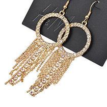 E203 h&m Goldtone Clear Rhinestone Tassel Earrings Brand New on Card Photo