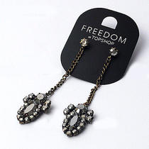 E284 Freedom Topshop Black Long Stud Earrings New on Card Photo