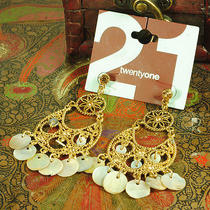 E325 Forever 21 Vintage Style Goldtone With Shell Charm Earrings New on Card Photo