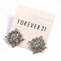 E361 Forever 21 Clear Rhinestone & Green Bead Stud Earrings New on Card Photo