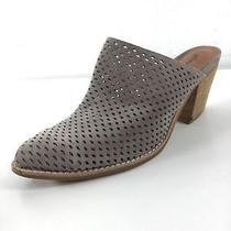 E38 Jeffrey Campbell Gray Suede Perforated Mules Women Size 10 Photo