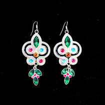 E387 Forever 21 Tibetan Style Color Rhinestone Earrings New on Card Photo