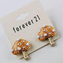 E394 Forever 21 Vintage Style Cute Orange Mushroom Stud Earrings New on Card Photo