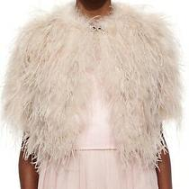 395 Ted Baker Dalina Blush Pink Ostrich Feather Fluffy Cropped Jacket Photo