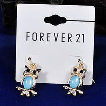 E408 Forever 21 Goldtone Cute Owl With Blue Rhinestone Earrings New With Tag Photo