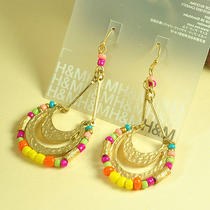 E412 h&m Goldtone With Color Bead Dangle Earrings Brand New on Card Photo